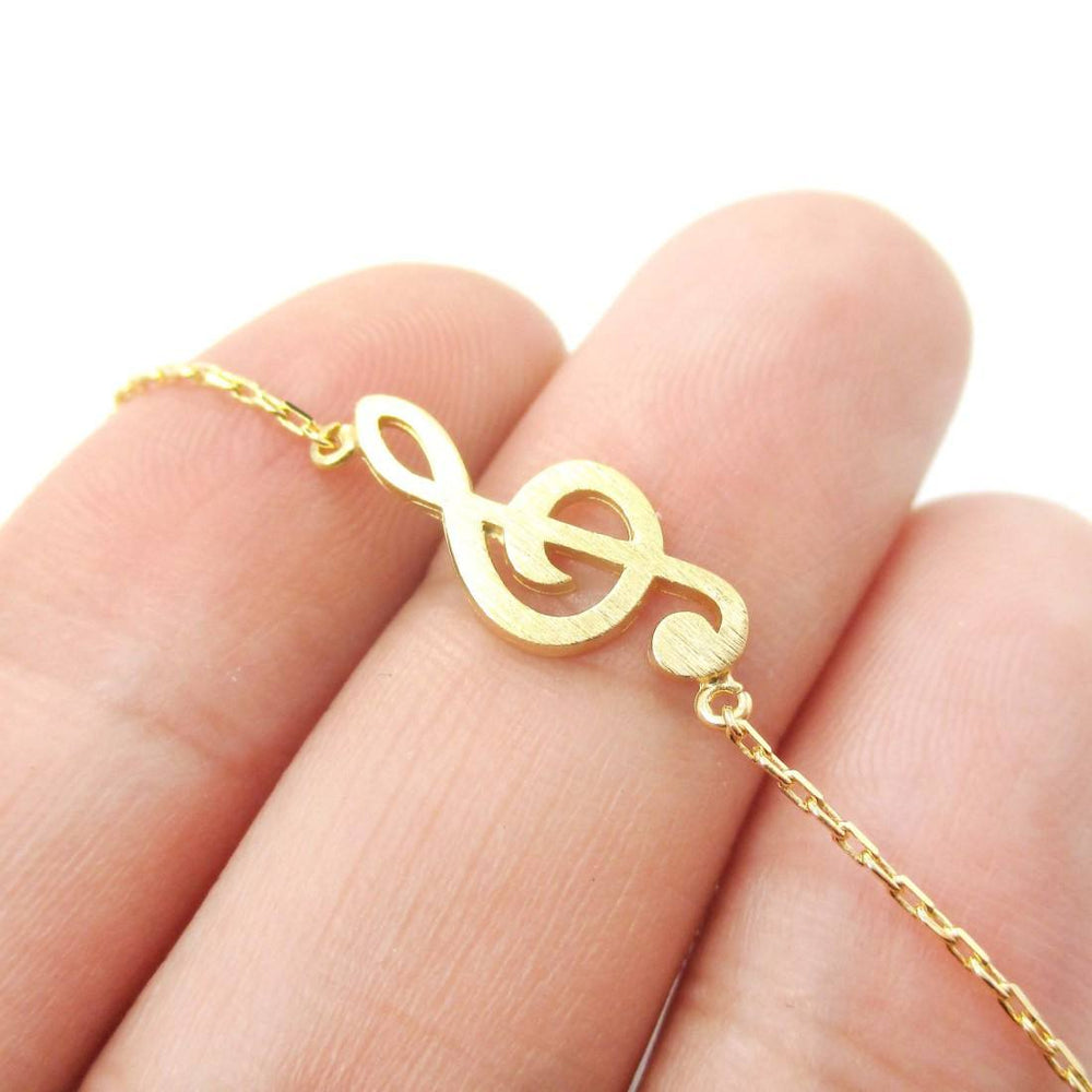 Classic Treble Clef Shaped Music Themed Charm Necklace in Gold