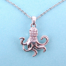 Classic Octopus Shaped Pendant Necklace in Silver with Rhinestones