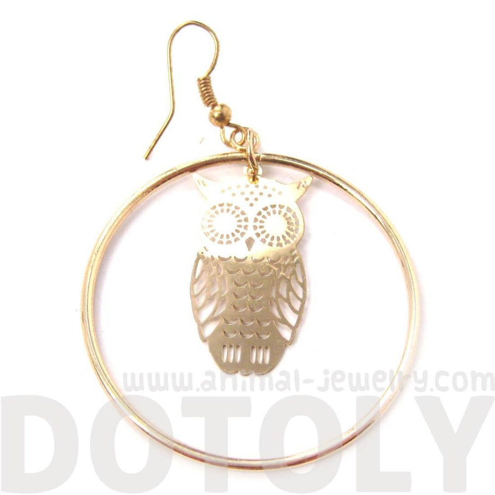 Owl Silhouette Shaped Dangle Hoop Earrings in Gold | Animal Jewelry