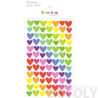 Classic Rainbow Colored Heart Shaped Decorative Scrapbook Stickers