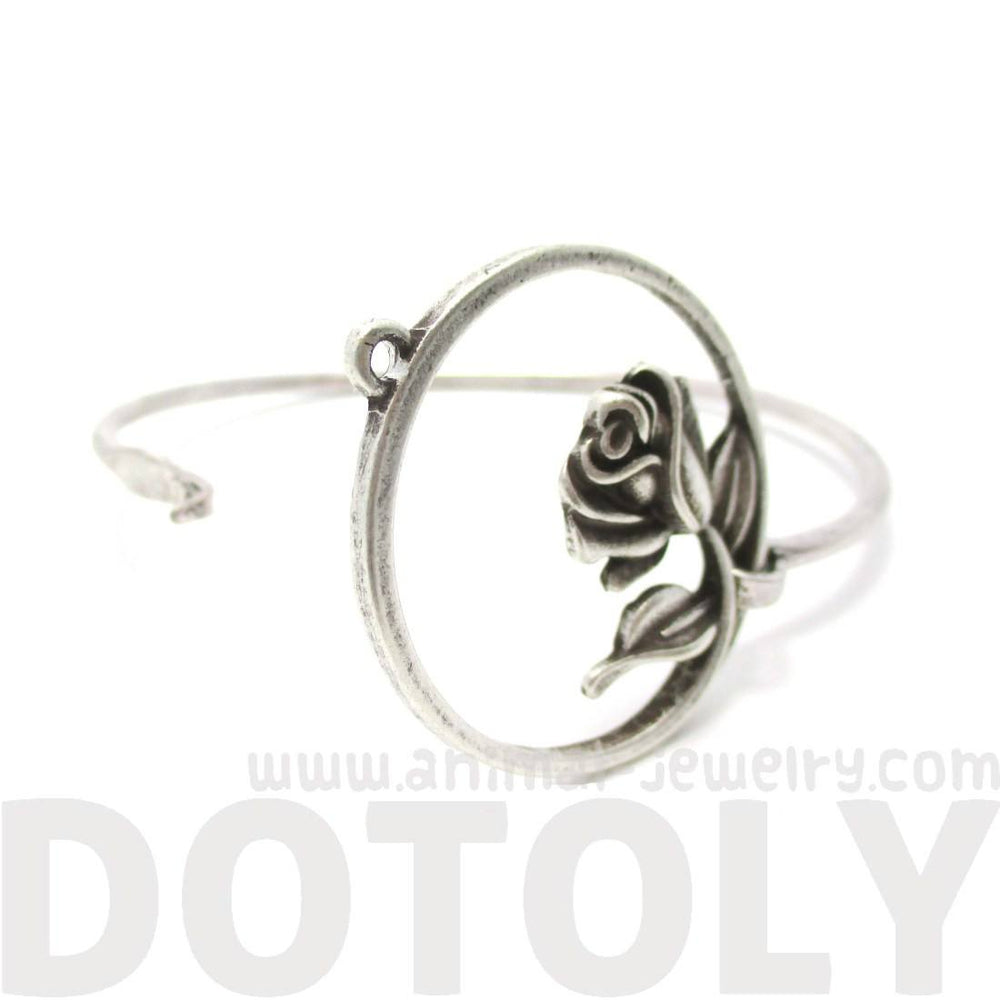3D Rose Floral Flower Bangle Bracelet Cuff in Silver