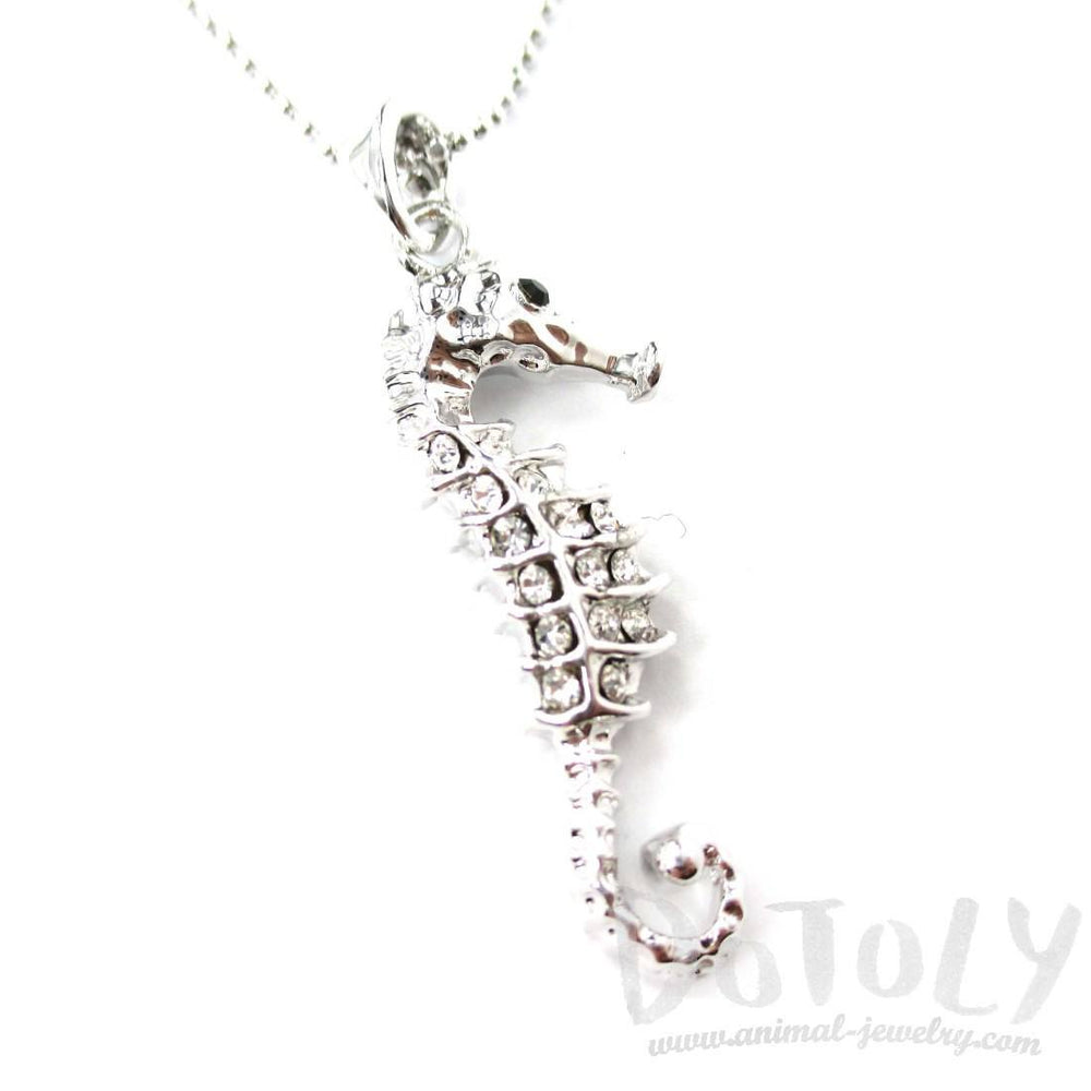 Classic Seahorse Shaped Rhinestone Pendant Necklace