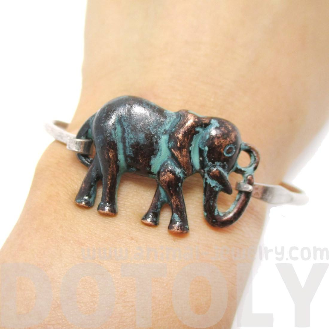 Classic Silver Bangle Bracelet Cuff with Antique Elephant Pendant | Animal Jewelry