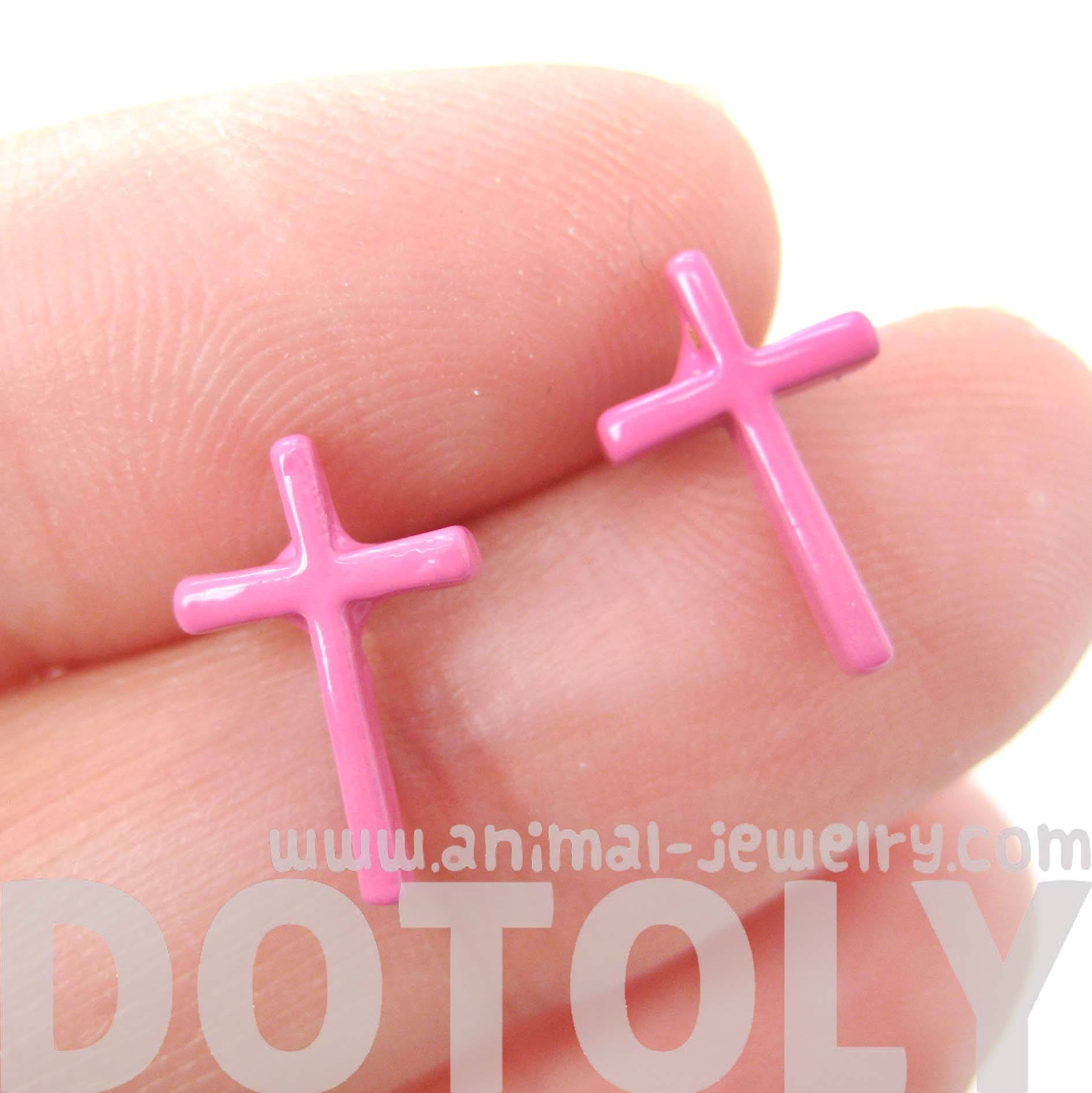 classic-small-cross-shaped-stud-earrings-in-pink-enamel-dotoly