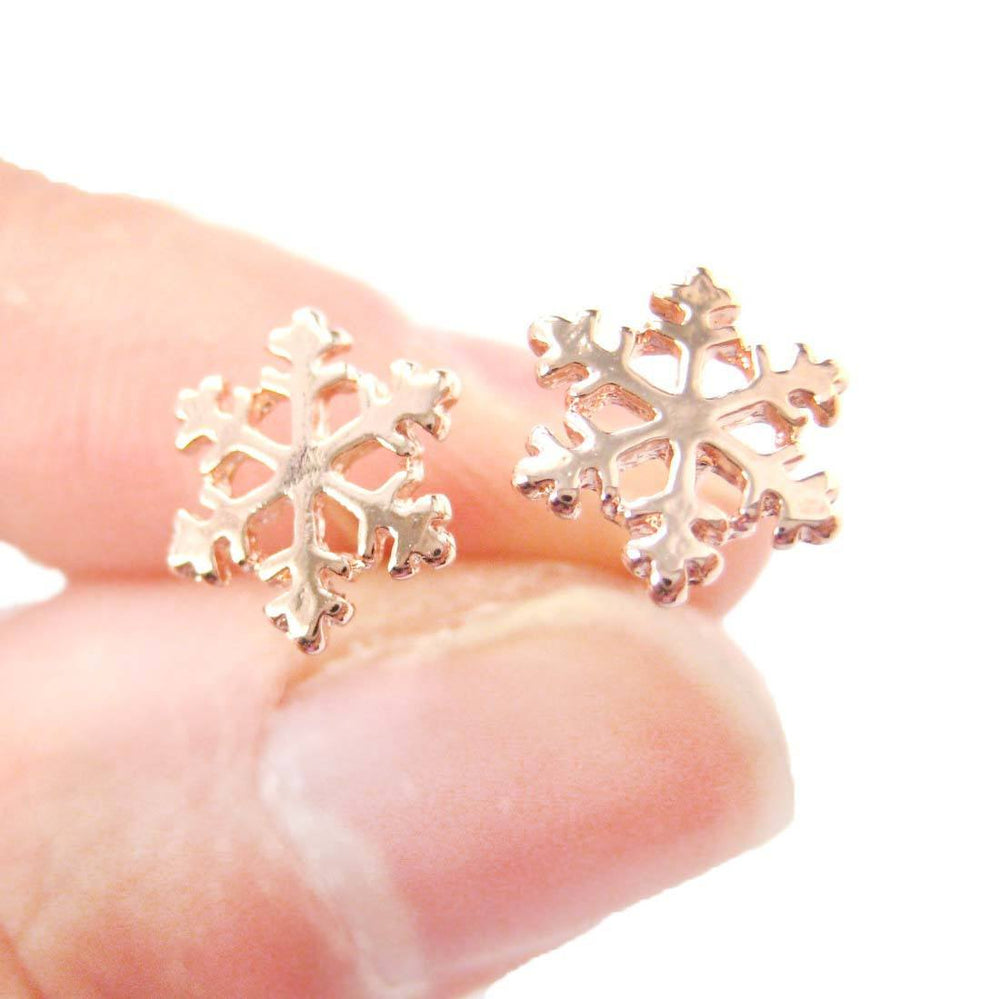 Classic Snowflake Shaped Small Stud Earrings in Rose Gold | DOTOLY