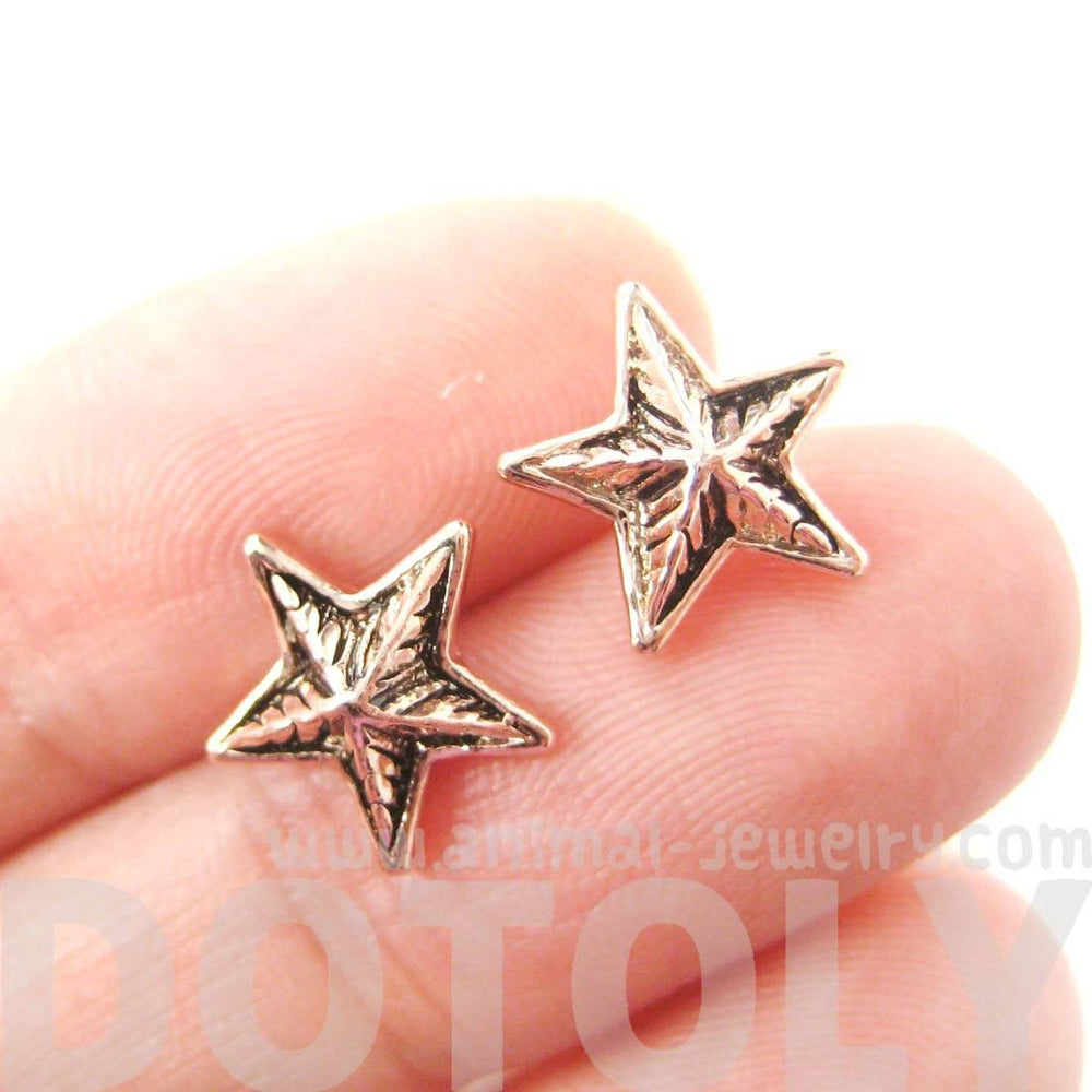 Classic Star Shaped Stud Earrings with Textured Details in Rose Gold