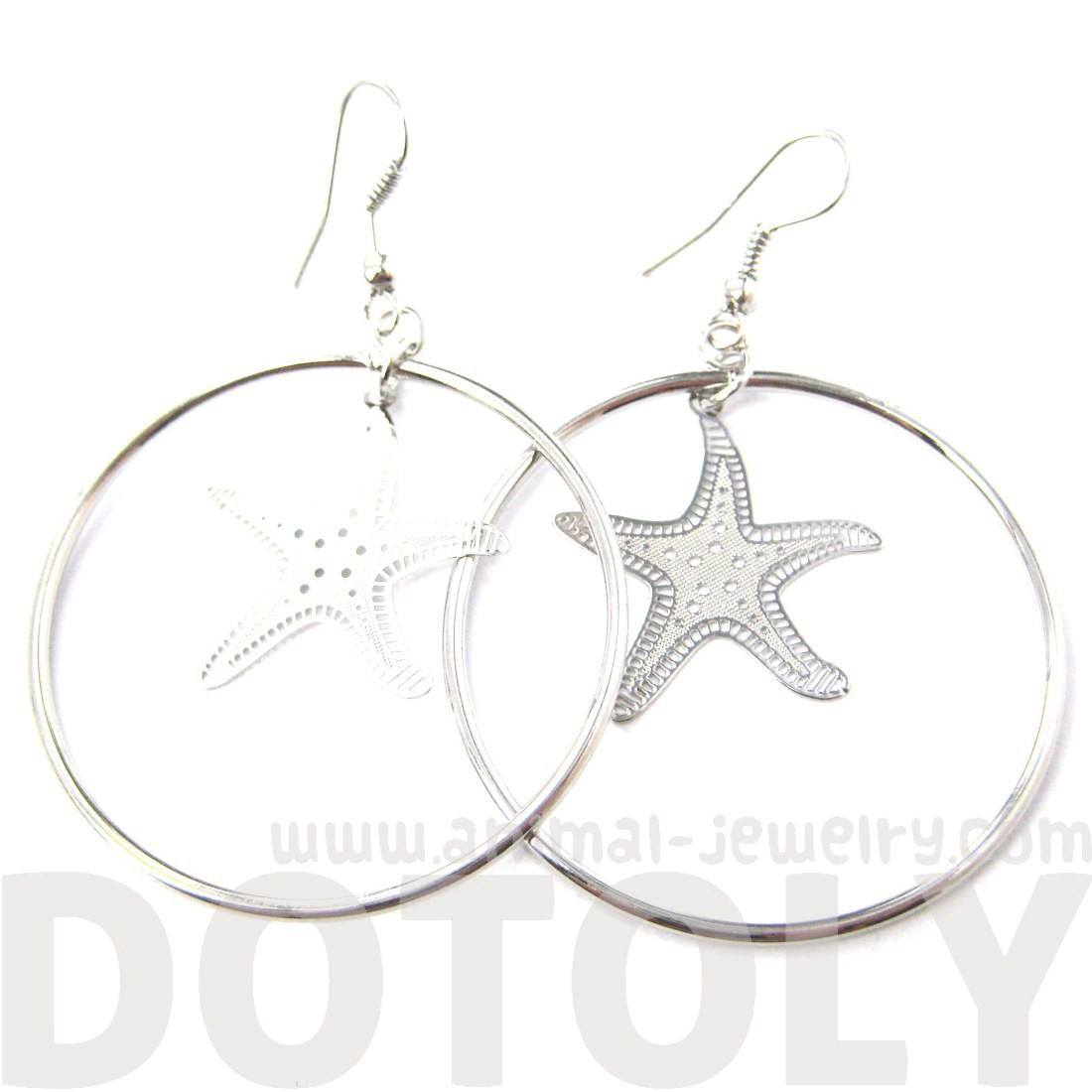 Classic Starfish Star Shaped Dangle Hoop Earrings in Silver | DOTOLY