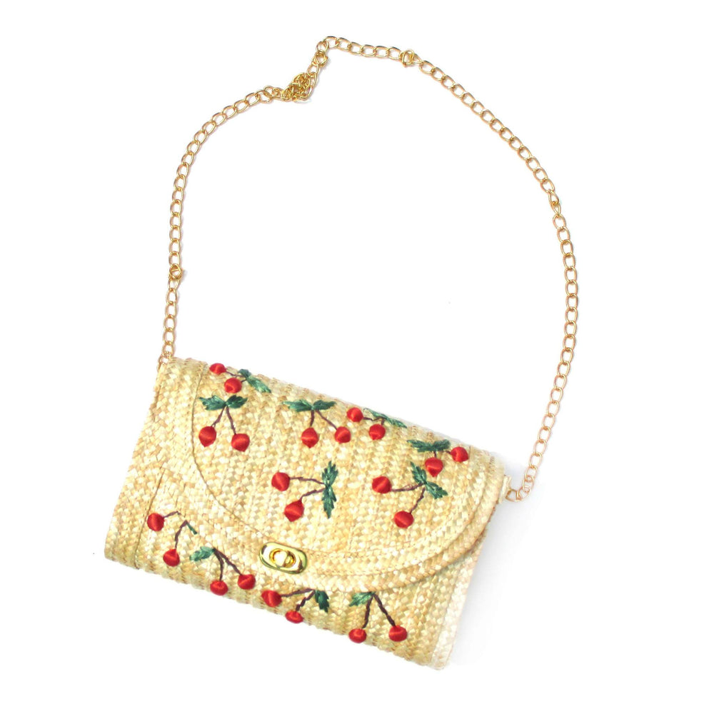 Classic Straw Woven Cross Body Summer Beach Bag with Cherry Embroidery