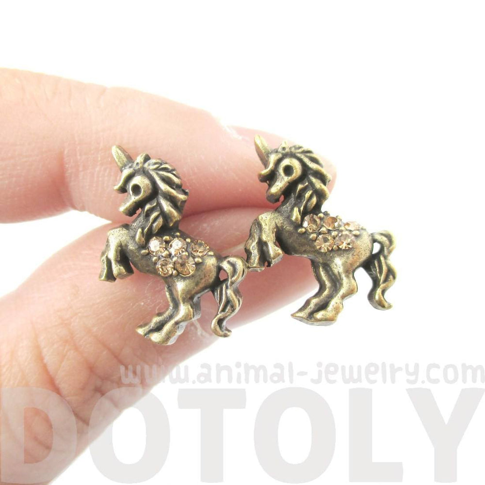 Classic Unicorn Horse Shaped Stud Earrings in Brass with Rhinestones
