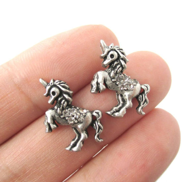 Classic Unicorn Horse Shaped Stud Earrings in Silver with Rhinestones