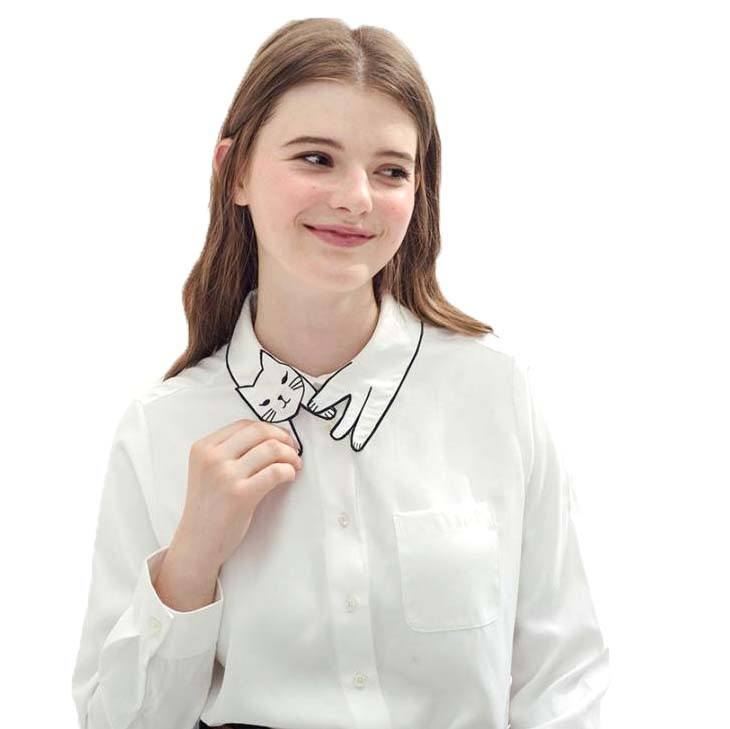 White Shirt with Adorable Embroidered Kitty Cat Wrap Around Collar