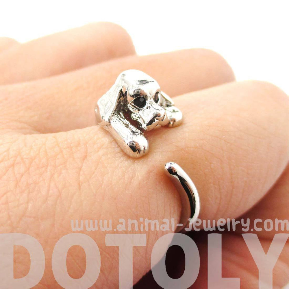 Cocker Spaniel Puppy Dog Animal Wrap Ring in Shiny Silver | DOTOLY