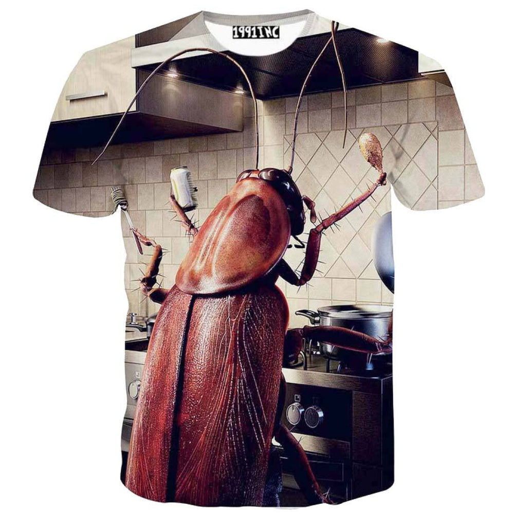 Cockroach Cooking in Your Kitchen Graphic Print T-Shirt