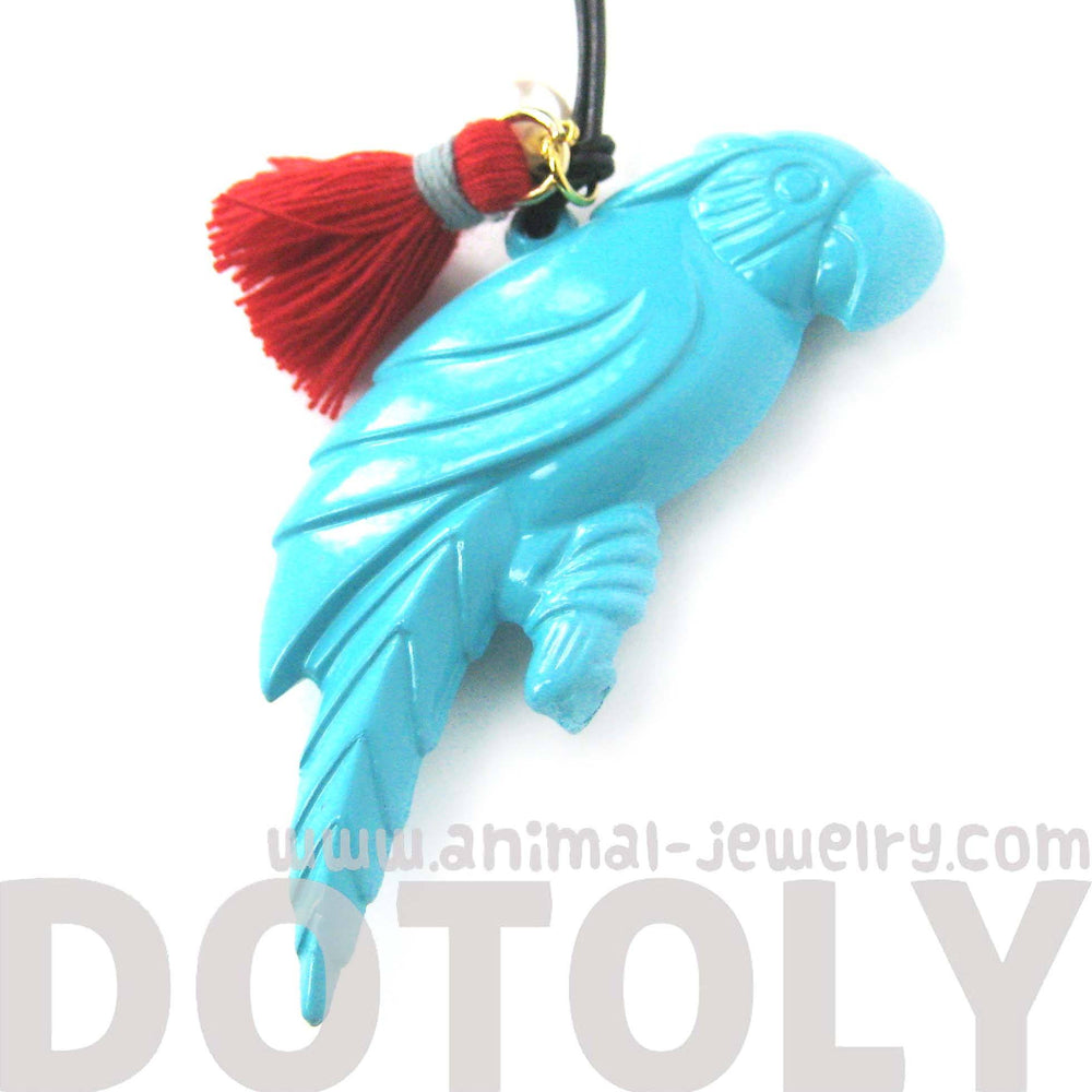 Colorful 3D Parrot Bird Shaped Animal Pendant Necklace in Mint Blue