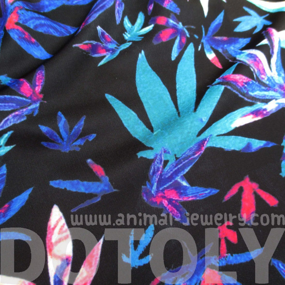 Colorful Weed Marijuana Print A-Line Circle Skirt with Elastic Waist