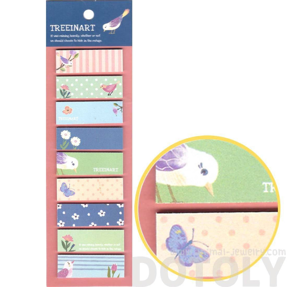 Colorful Birds and Spring Themed Memo Post-it Note Tabs | Version 2