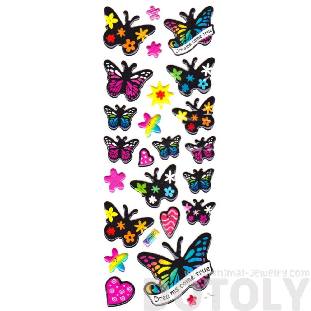 Colorful Butterfly Shaped Floral Print Insect Themed Stickers on Black