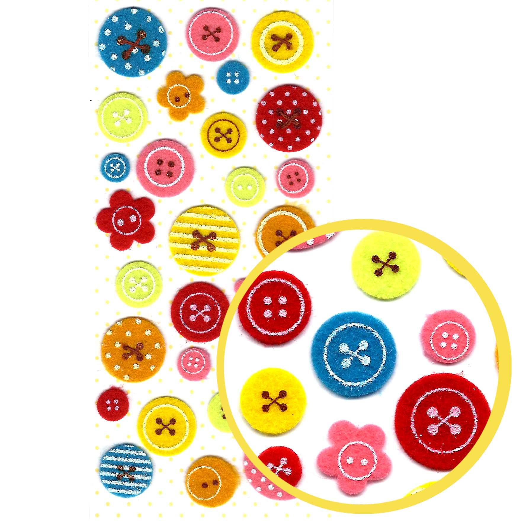 Colorful Button Shaped Fuzzy Felt Decorative Envelope Sticker Seals