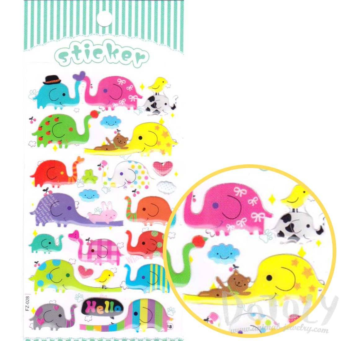 Cartoon Elephant Shaped Jelly Stickers for Scrapbooking