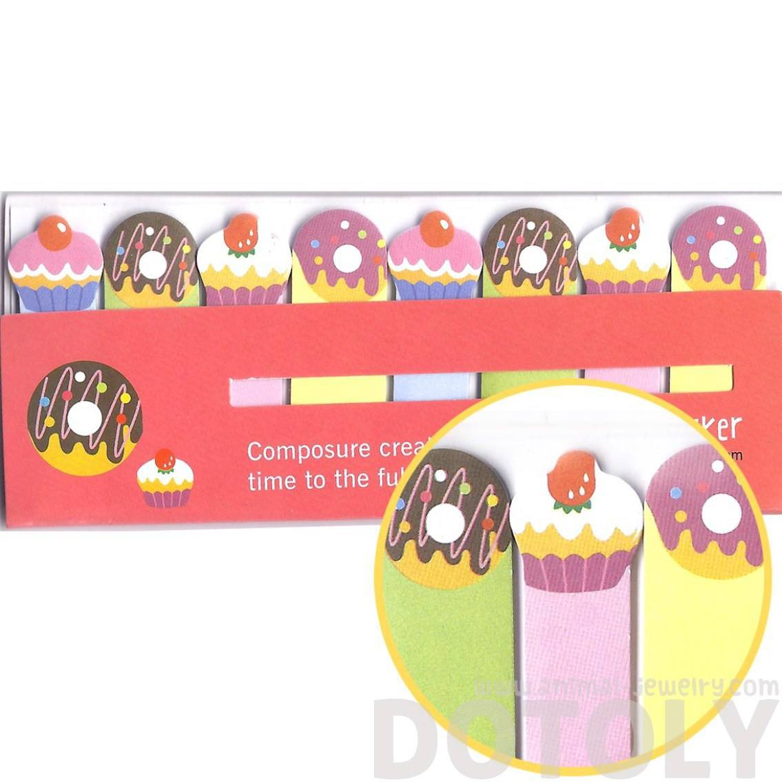 Colorful Cupcakes and Donuts Food Themed Post-it Index Bookmark Tabs