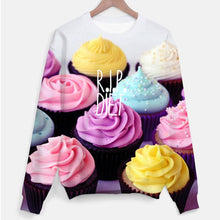 Colorful Cupcakes Graphic Print R.I.P Diet Unisex Pullover Sweater