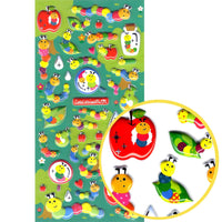 Cute and Colorful Caterpillar Insect Shaped Puffy Scrapbook Stickers