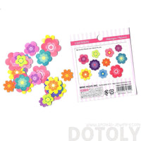 Colorful Daisy Floral Flower Shaped Sticker Flake Seal Sack From Japan