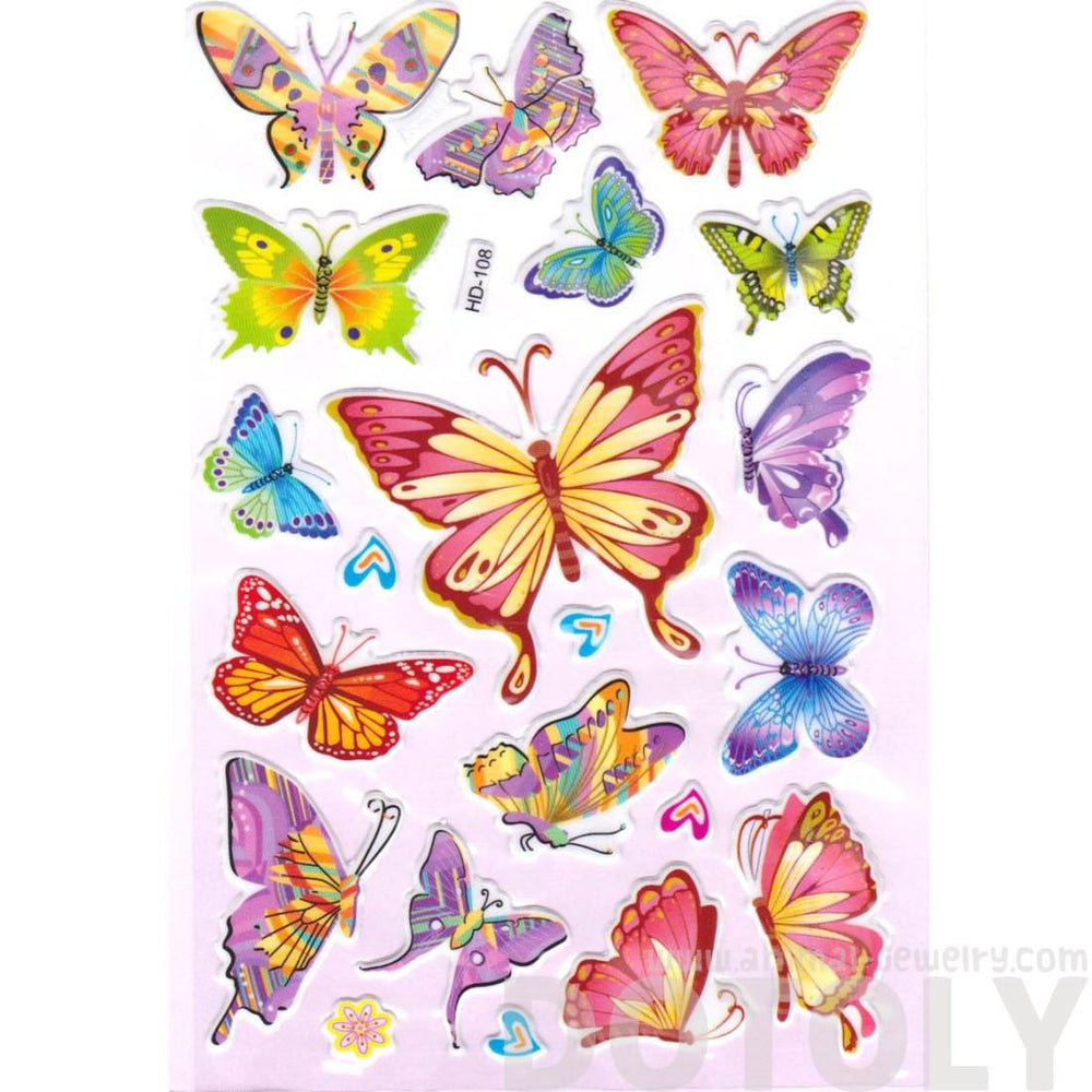 Colorful Decorative Butterfly Shaped Insect Themed Jelly Stickers