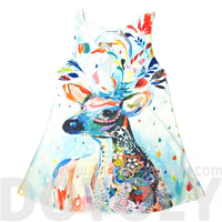 Colorful Deer Stag Bambi Animal Print Graphic A Line Flowy Tank Top