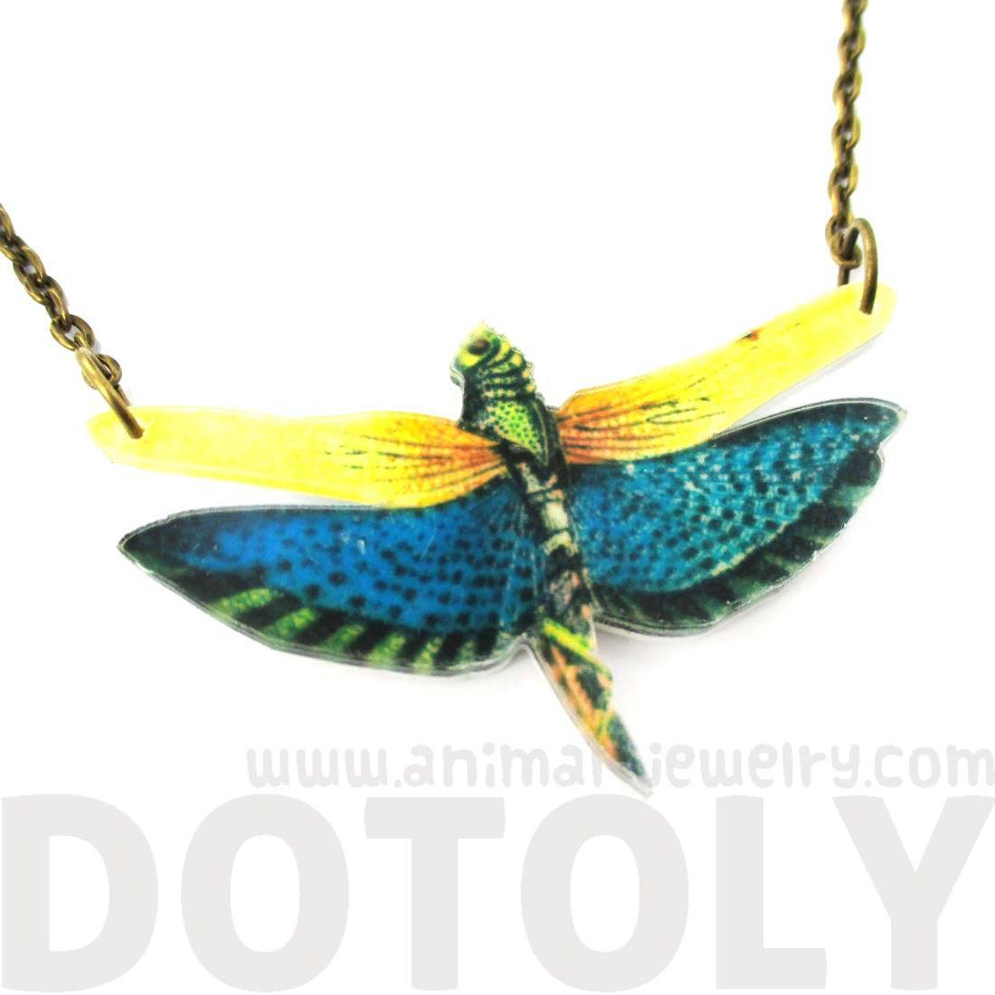 Colorful Dragonfly Insect Shaped Acrylic Illustrated Pendant Necklace | DOTOLY