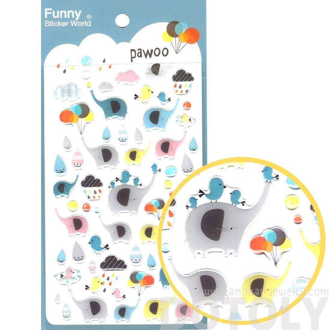 Colorful Elephant and Raindrops Themed Animal Shaped Jelly Stickers