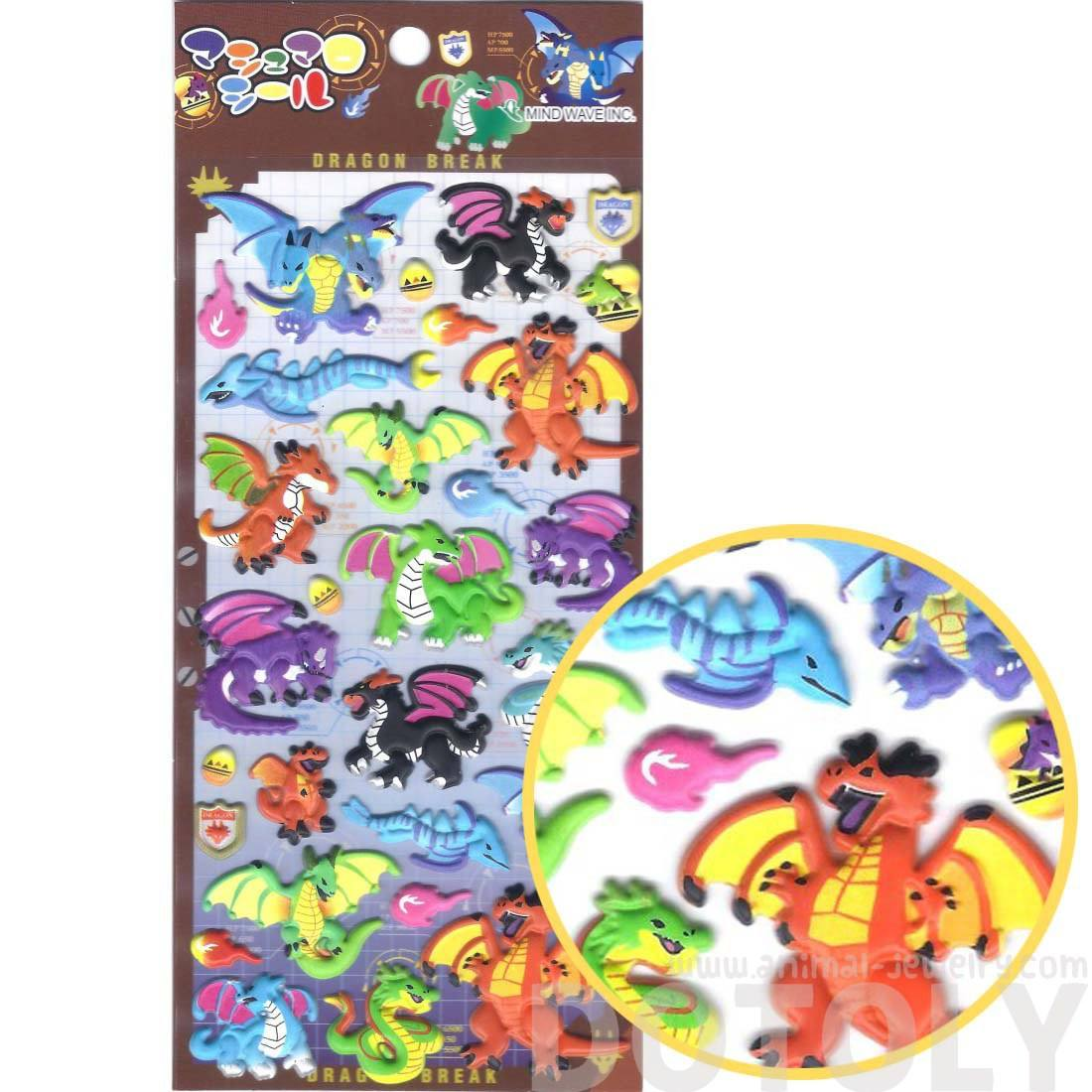 Fire Breathing Dragons Shaped Mythical Creatures Themed Puffy Stickers