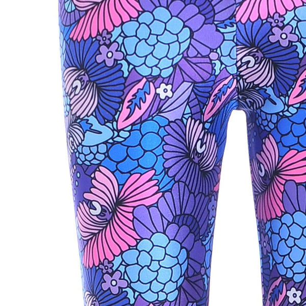 Colorful Floral Coral Abstract Print Legging Pants for Women in Purple