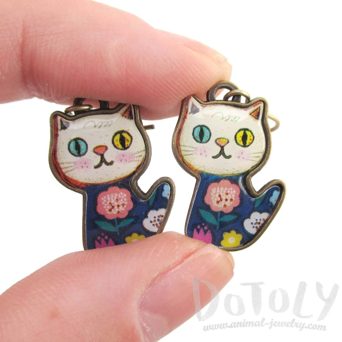 Colorful Floral Print Kitty Cat Cartoon Shaped Dangle Earrings