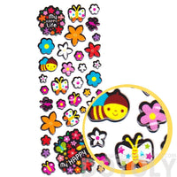 Colorful Flowers Bees and Butterflies Shaped Puffy Stickers for Kids