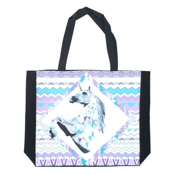 Geometric Unicorn Art Print Rectangular Shopper Tote Shoulder Bag