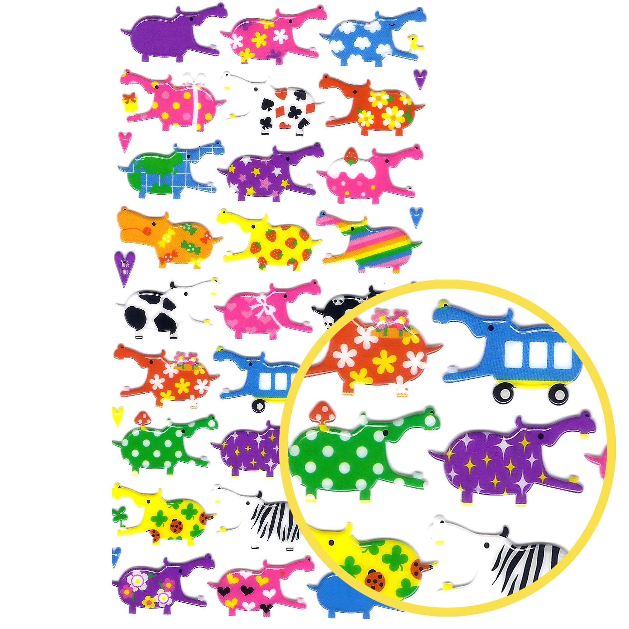 Colorful Hippo Animal Jelly See Through Scrapbooking Puffy Stickers