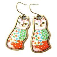 Colorful Illustrated Kitty Cat Animal Dangle Earrings in Orange Green