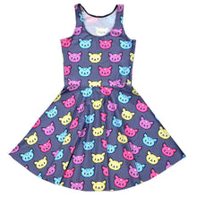 Colorful Kitty Cat All Over Pattern Print Sleeveless Skater Dress