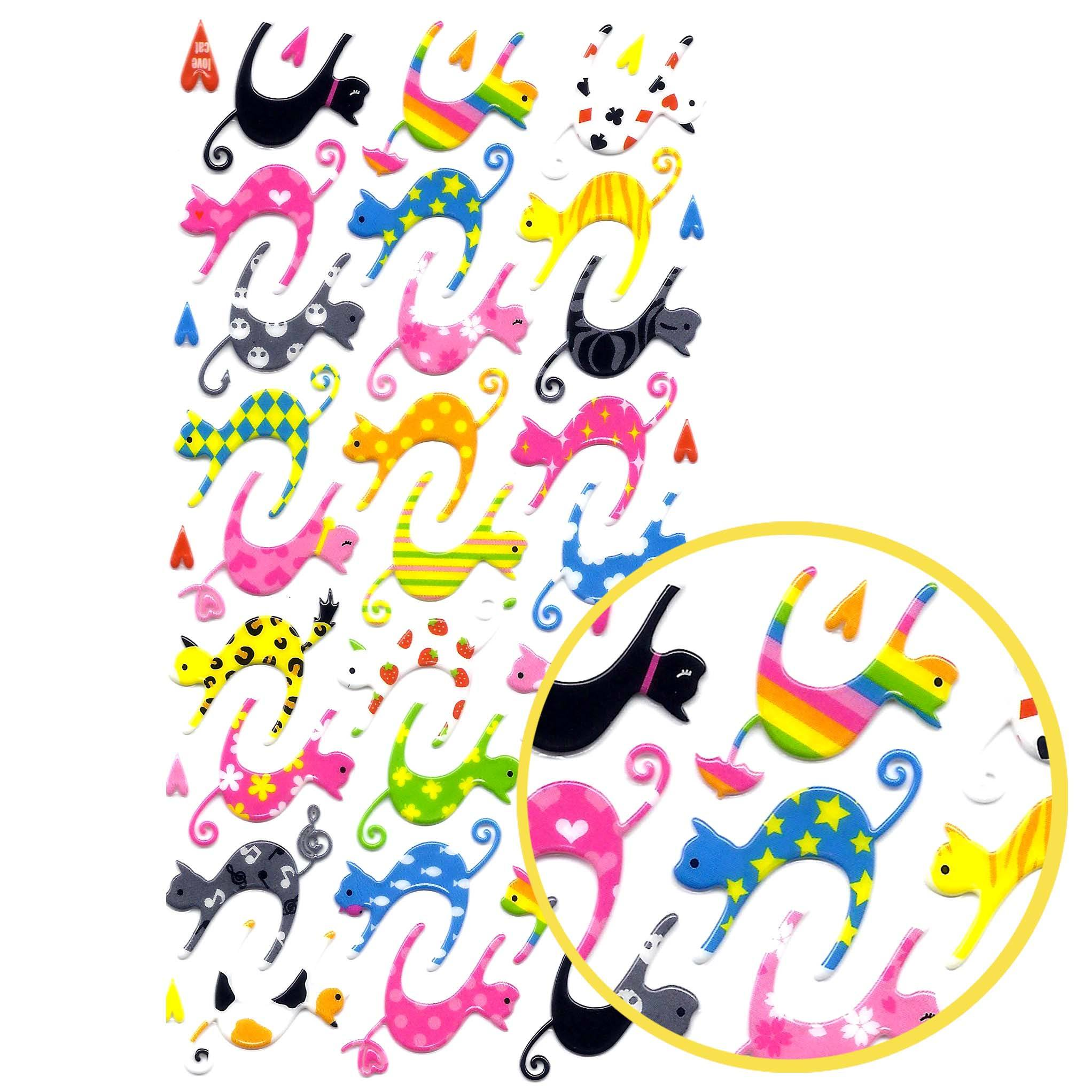 Colorful Kitty Cat Animal See Through Puffy Stickers for Scrapbooking