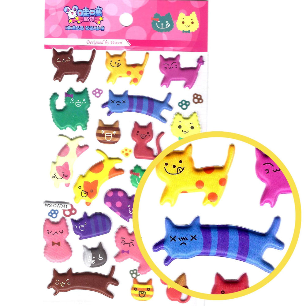 Colorful Kitty Cat Animal Shaped Puffy Stickers for Scrapbooking