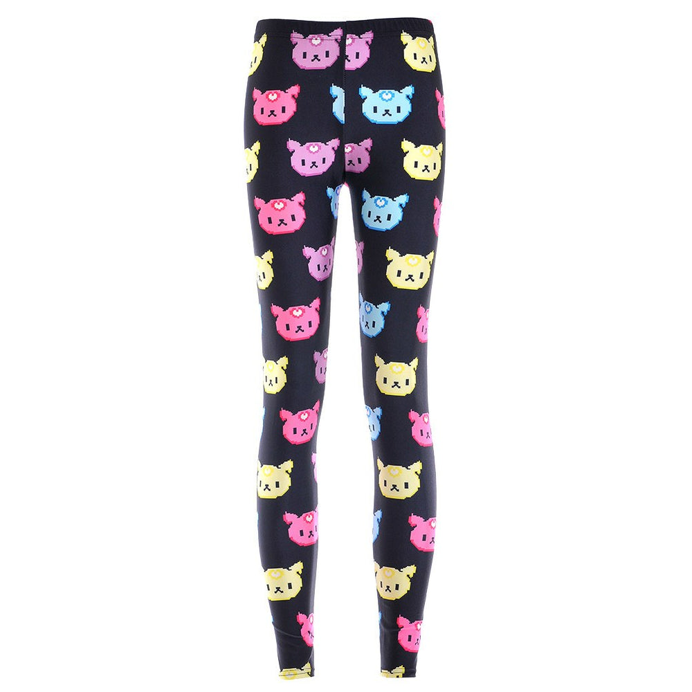 Colorful Kitty Cat Face All Over Collage Print Legging Pants for Women