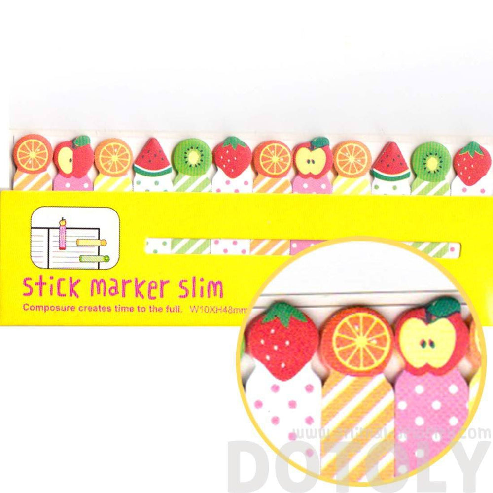 Colorful Kiwi Orange Strawberry Fruit Shaped Sticky Post-it Index Tabs