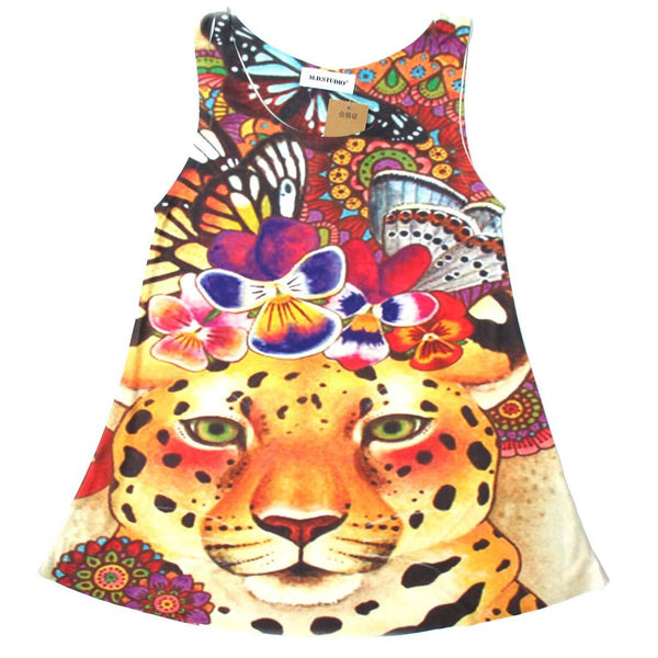 Colorful Leopard Cheetah Animal Print Graphic A Line Flowy Tank Top