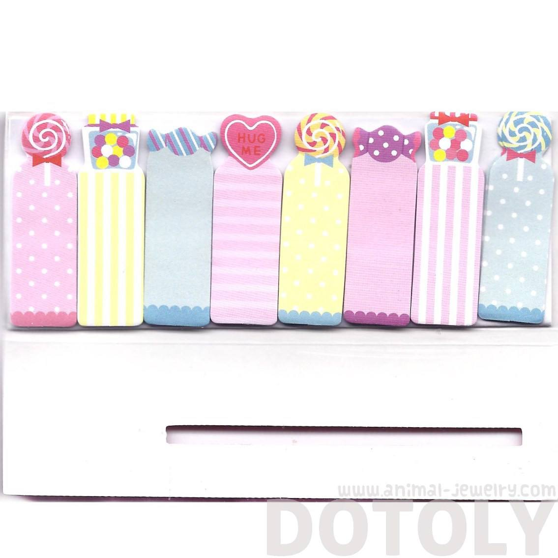 Colorful Lollipop Gumballs Candy Hearts Print Post-it Bookmark Tabs