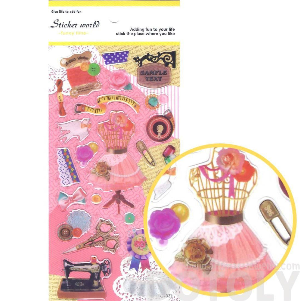 Colorful Seamstress Measuring Tape Sewing Machine Lace Shaped Stickers