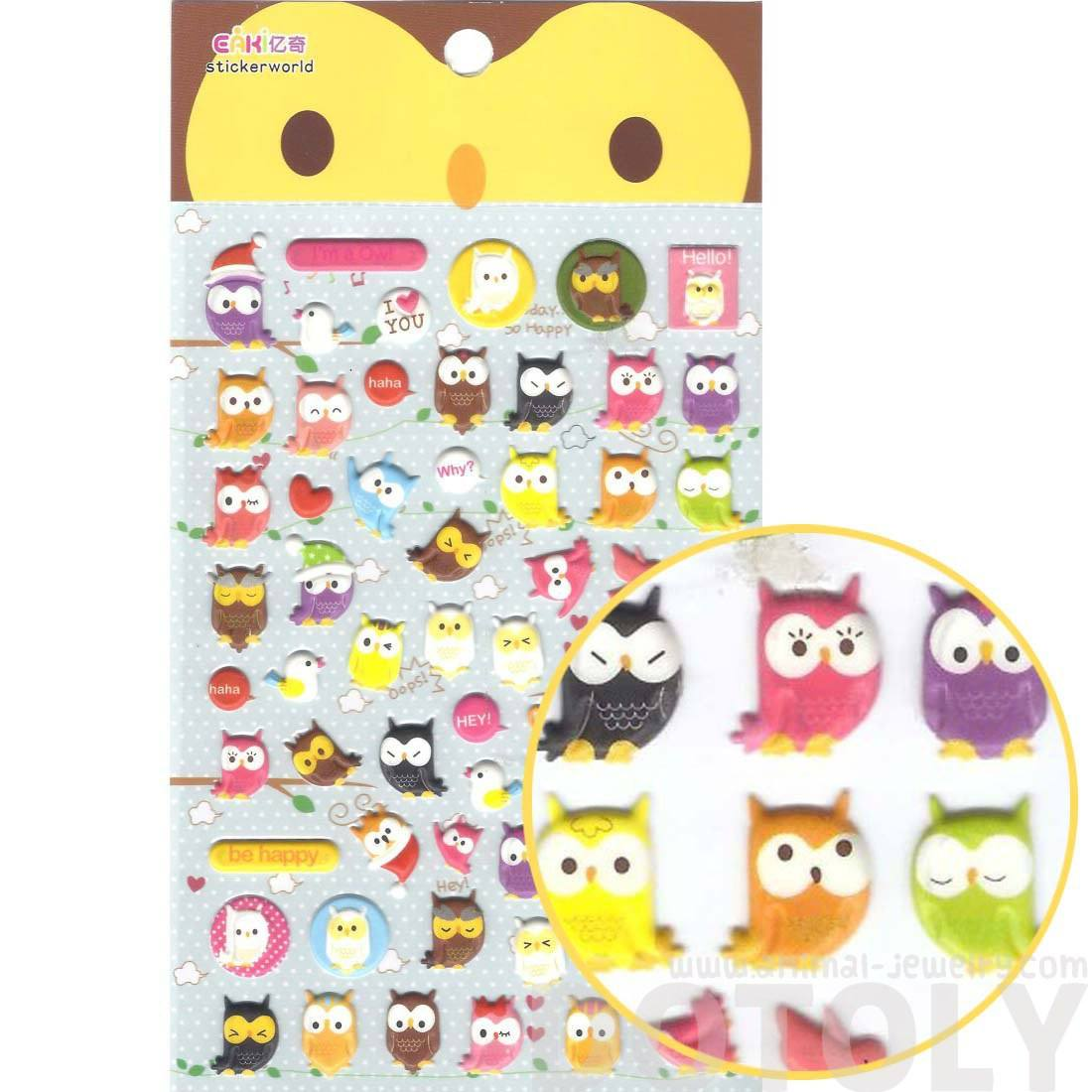 Colorful Owl Bird Shaped Animal Themed Puffy Stickers for Scrapbooking