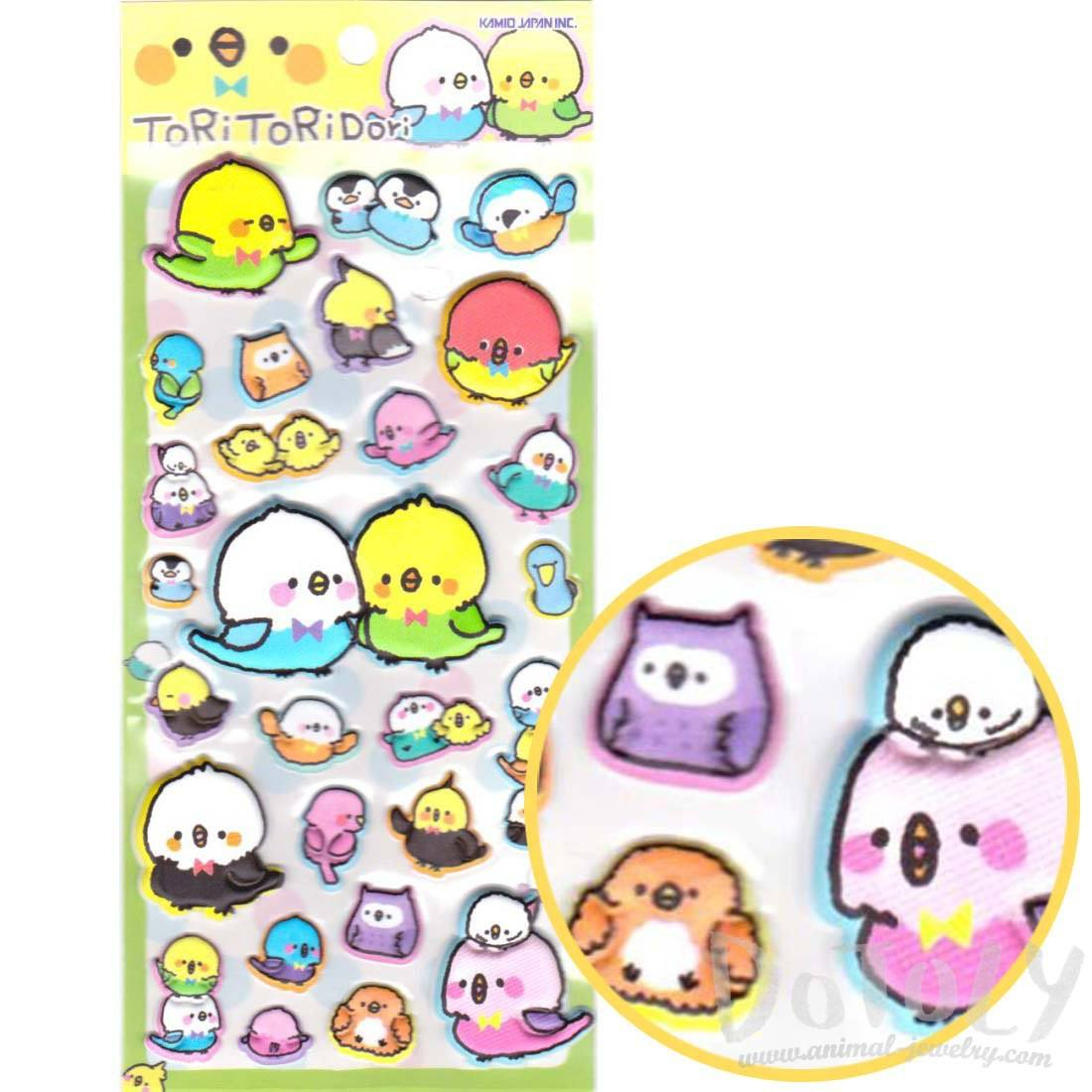 Cute Parakeet Bird Shaped Animal Themed Puffy Stickers