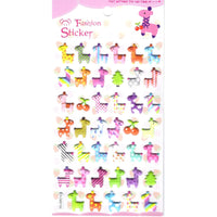 Colorful Patterned Giraffe Shaped Animal Themed Puffy Stickers