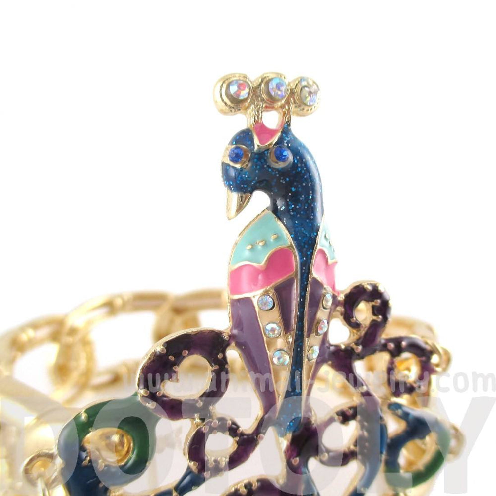 Large Peacock Bird Animal Themed Stretchy Cuff Bracelet
